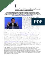 Edgar Perez, HFT Leaders Forum 2013 London, Debunks Financial Transaction Tax Myths & Misconceptions