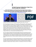 World's Most Influential High-Frequency Trading Expert Edgar Perez, Keynote at London HFT Conference