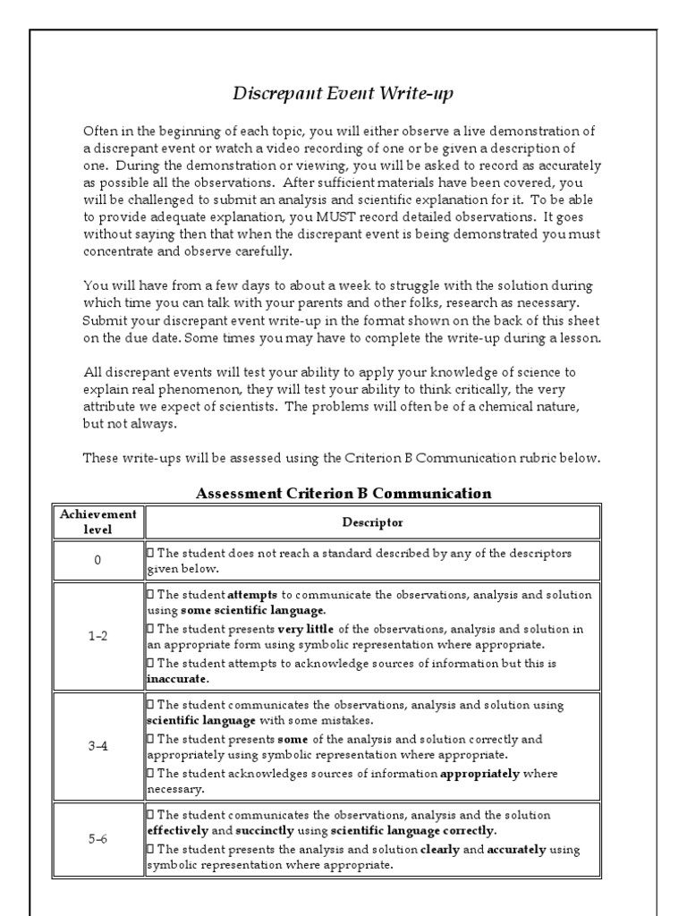 Discrepant Event Write-Up Format  PDF  Observation  Science