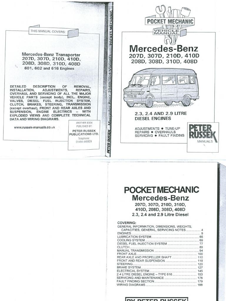 Mercedes 207,208,210,307,308,310,408,410D-Service Manual En