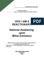YES! I AM A REACTIONARY! National Awakening upon MIHAI EMINESCU