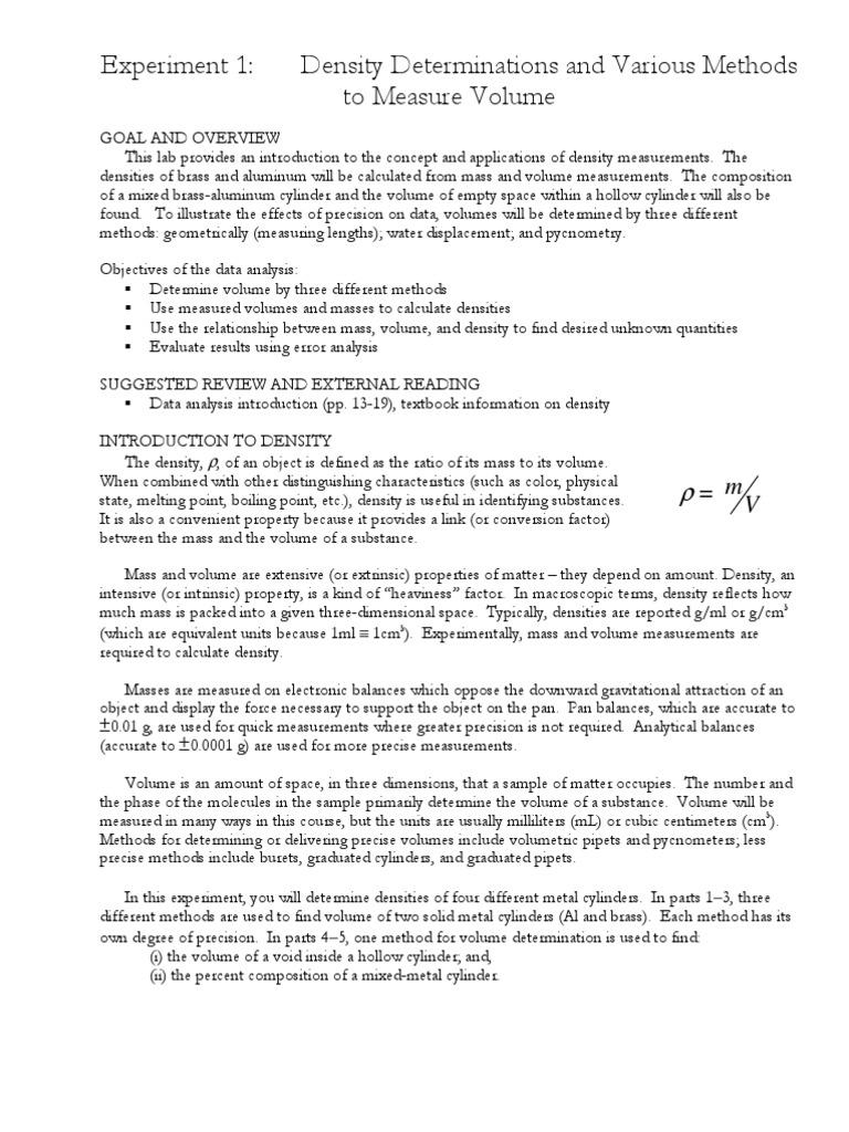 Method measuring densitypdf density volume ccuart Images