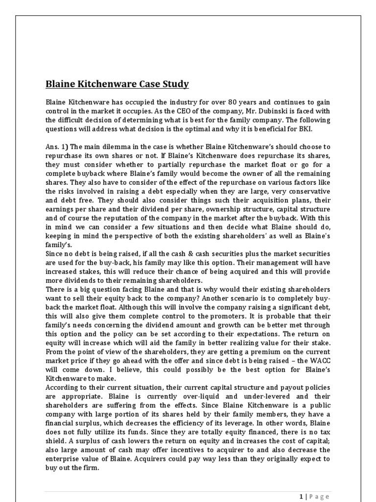 blaine kitchenware case spreadsheet