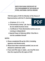 Requirements for Filing Certificate of Candidacy