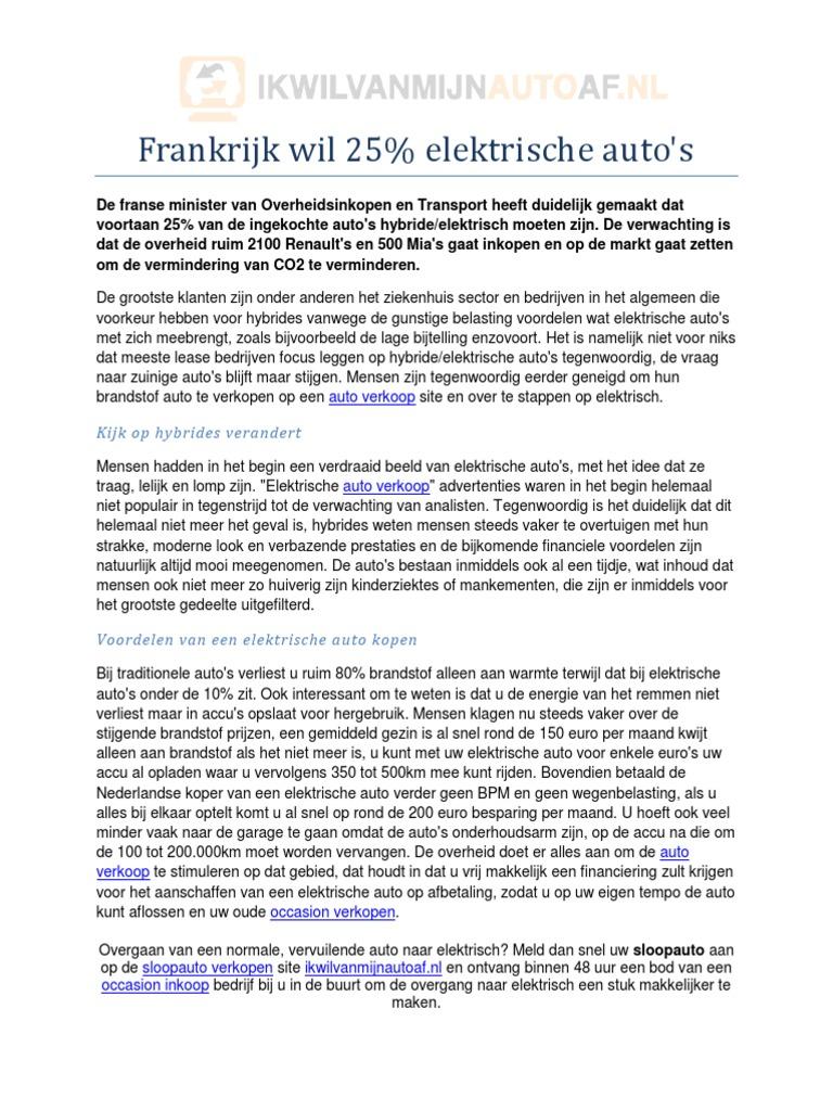 Frankrijk Koopt Massaal Elektrische Auto