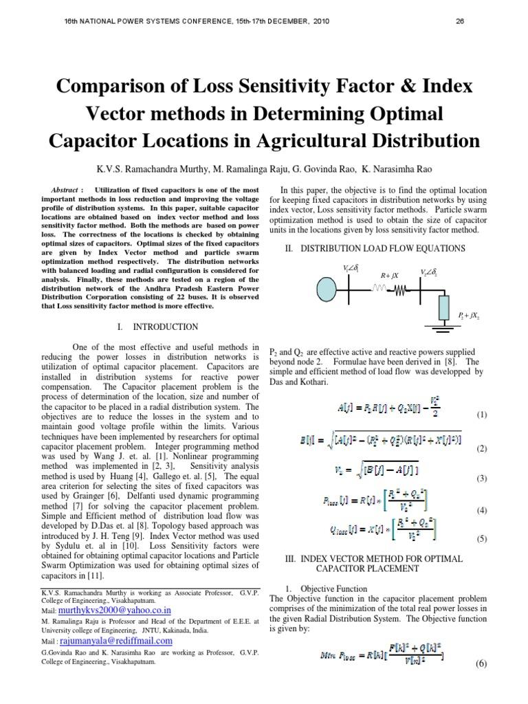 capacitor placement | Ac Power | Mathematical Optimization