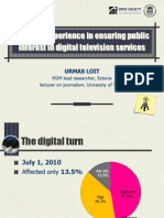 Urmas Loit. Estonian experience in ensuring public interest in digital television services