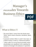 Indian Manager's Attitudes Towards Business Ethics