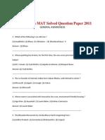 Open Mat Solved Question Paper 2011