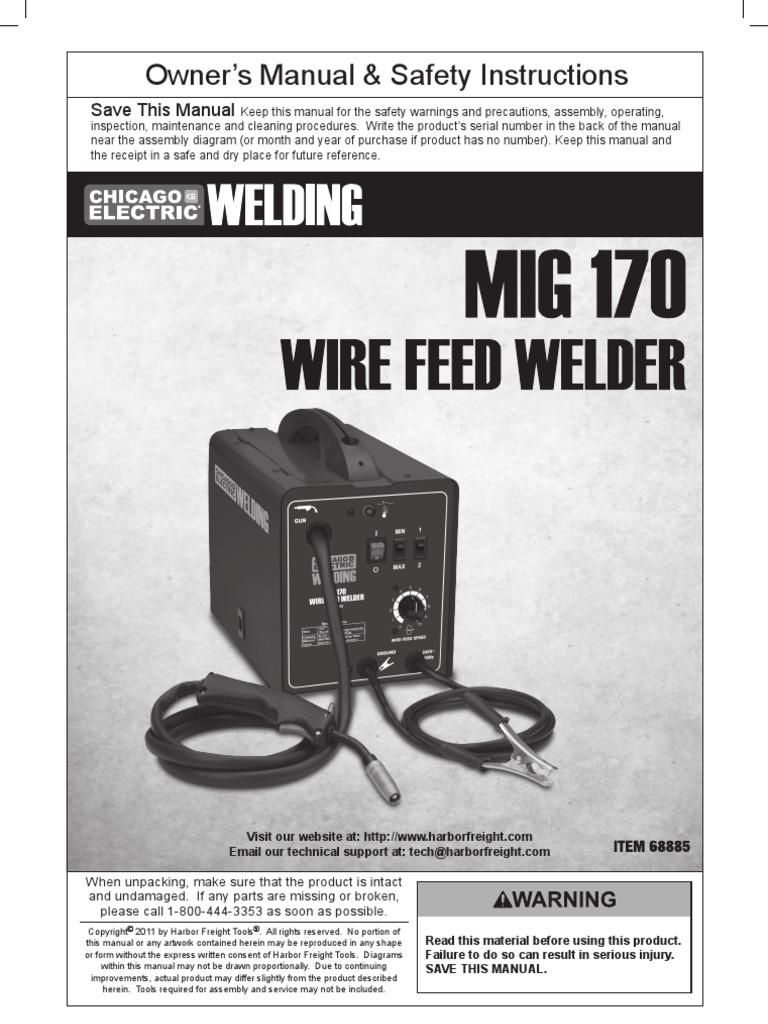 Chicago Electric 170 Amp Welder Manual | Welding | Fires