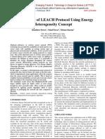 Enhancement of LEACH Protocol Using Energy Heterogeneity Concept