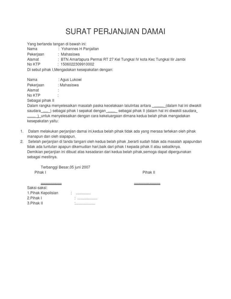 Surat Pernyataan Damai Kedua Belah Pihak - Bagi Contoh Surat