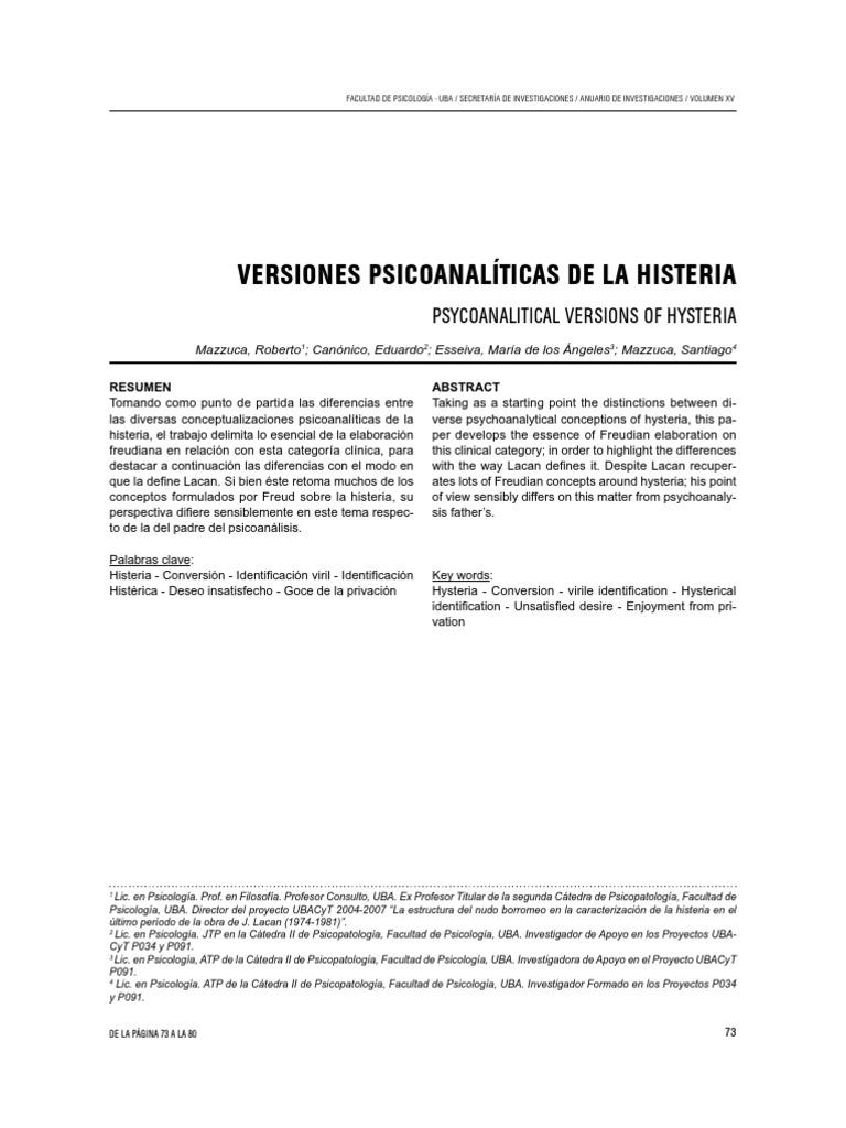 Versiones Psicoanaliticas de La Histeria