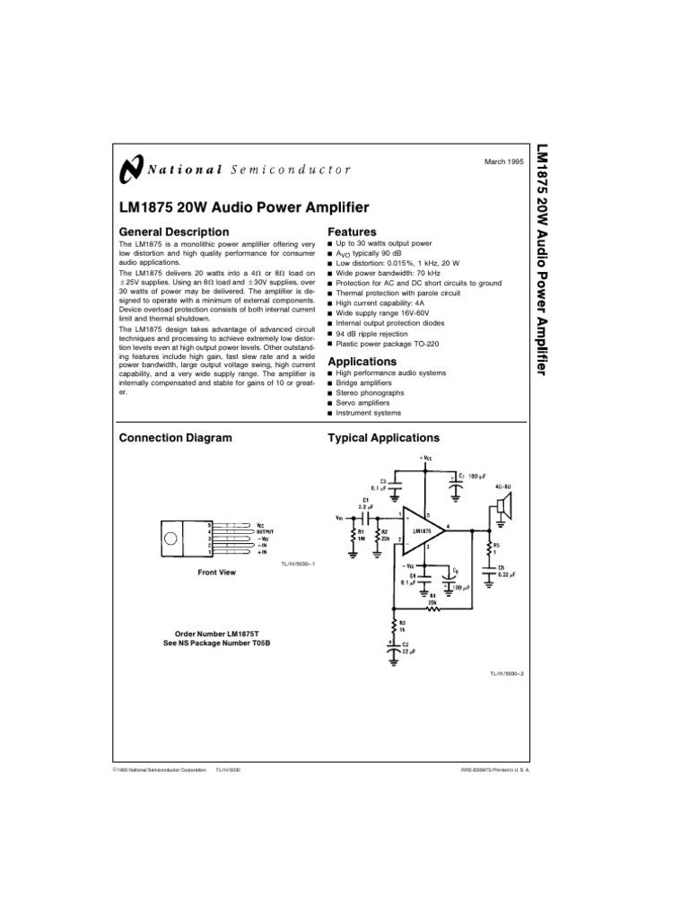 Lm1875 Capacitor Amplifier 20w Audio Using Ic Circuit Diagram