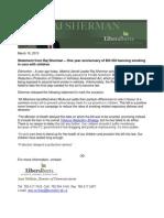 Statement fron Raj Sherman - One year anniversary of Bill 203