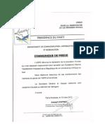 UDPS Communique 10 Mars 2013 Press Release by Joseph Kapika