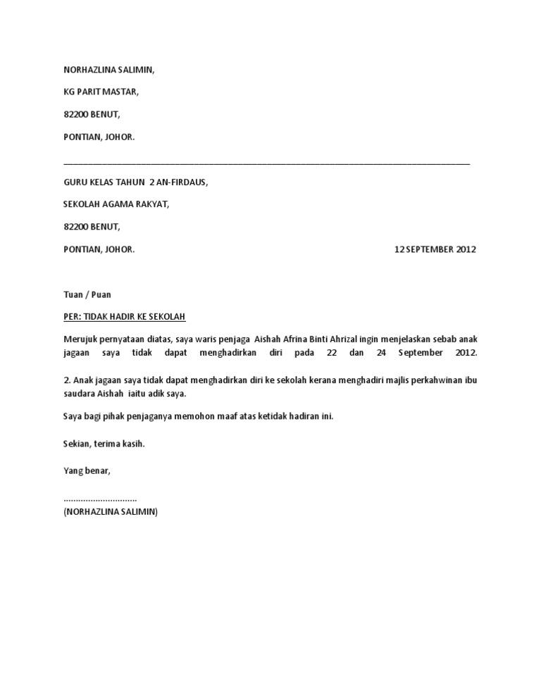 Download 6 Contoh Surat Rasmi Tidak Hadir Sekolah Kuliah Melur Net