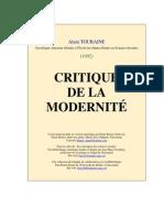 Touraine Critique de La Modernite