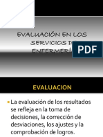 EVALUACIÓN EN LOS SERVICIOS DE ENFERMERÍA