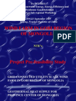 NTE Mongolia PFS on Wind Farm in Southern Area