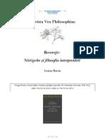 [Vox Philosophiae] [Recenzie] Ioana Baciu, Nietzsche şi filosofia interpretării (George Bondor, Dansul măştilor. Nietzsche şi filozofia interpretării,)