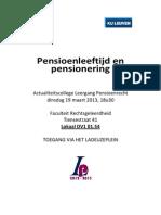 Actualiteitscollege Leergang Pensioenrecht 19 Maart 2013