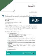 Conférence de Lancement du Labex TEPSIS