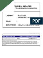 Uraian Jabatan Manager Keuangan Administrasi