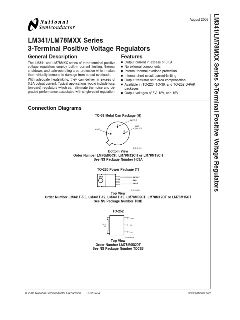 7805 Regulator Datasheetpdf Electrical Engineering Physical L200 Based Voltage Regulators Quantities