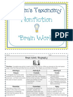 Blooms Taxonomy Brain Work