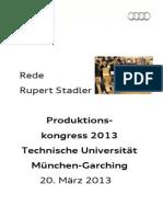 Rupert Stadler - Produktionskongress 2013 an der Technischen Universität München-Garching