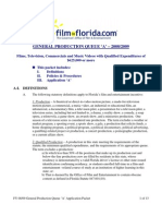 Florida Queue A Application Packet - General Production over $625,000