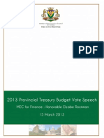Treasury Budget Speech 15 March 2013