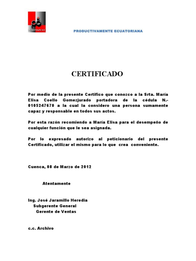 certificado comercial
