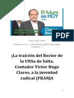 La traición del Rector Claros de la UNSA de Salta, a la juventud radical (FRANJA MORADA) y peronista (FUCE)...