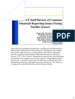 SEC CF Staff Review of Common Financial Reporting Issues Facing Smaller Issuers