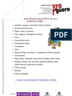 Listado de Material Para El Campamento de Samana Santa Manada