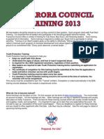 Tuscarora Council Training Courses for 2013