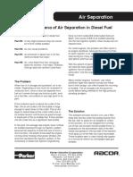 Mobile Air Separation in Diesel Fuel