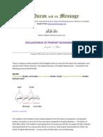 Exclusiveness of Prophet Muhammad