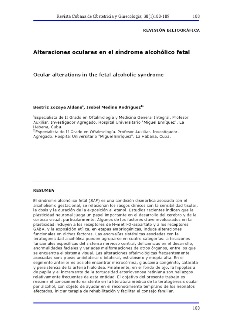 especialista materno fetal alcohol syndromes
