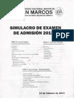 Simulacro de Examen de Admisión UNMSM – 2012-II – Áreas Académicas B, C y F
