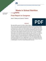 Plate Waste in School Nutrition