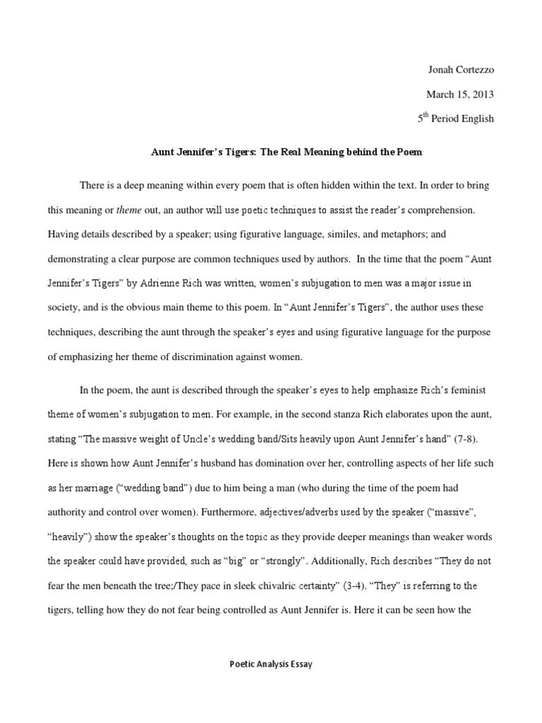an analysis of jennifers tigers