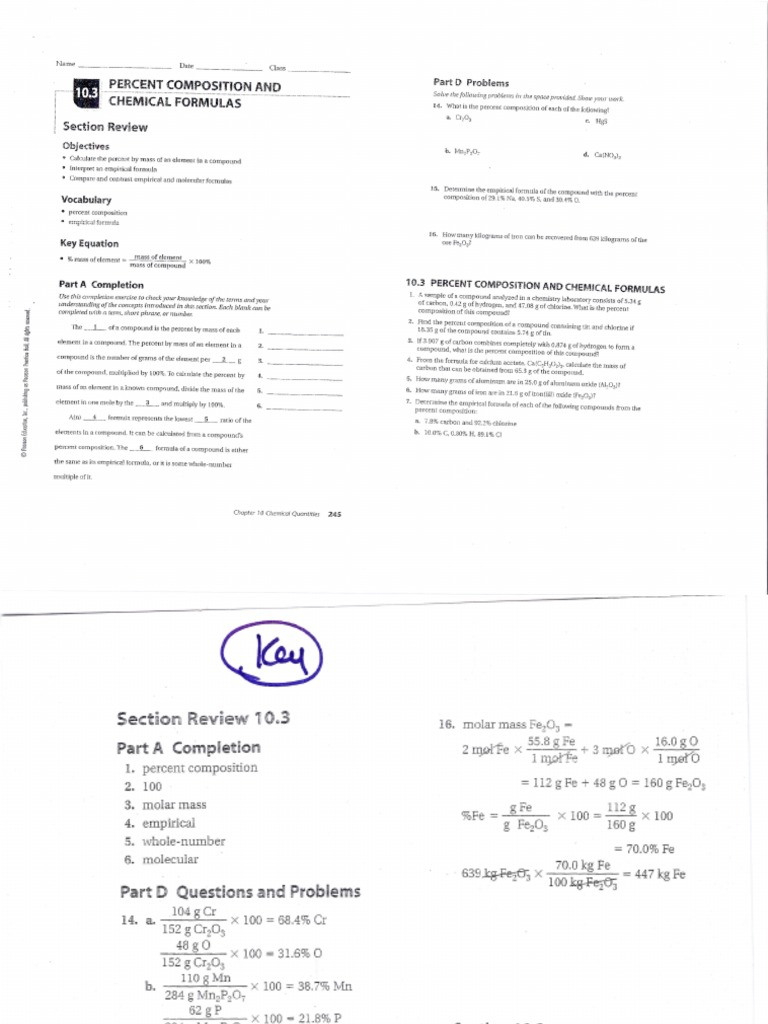 worksheet Percent Composition Worksheet Answers 10 3 percent composition chemical formulas answer keyanswers compounds formula