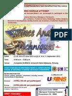 Surface Analysis Techniques June & Sept 2013