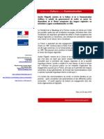 Communiqué de presse d'Aurélie Filippetti (20 mars 2013)