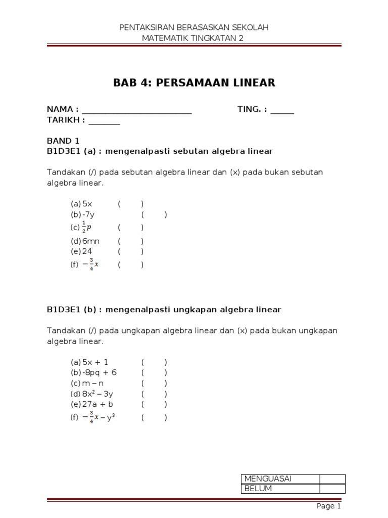 Bab 4 Persamaan Linear
