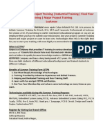 Summer Training Project Training Industrial Training Final Year Training Lucknow