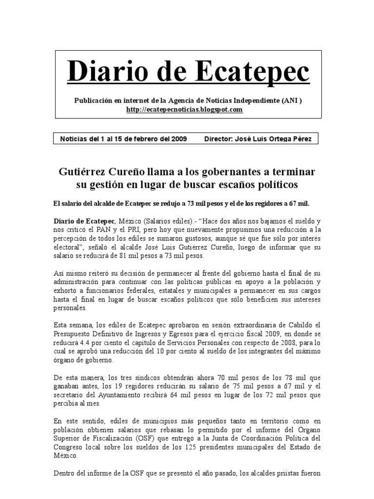 Diario de Ecatepec. Noticias del 1 al 15 de Febrero 2009